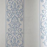 Tapete, Designtapete, Ornamente, floral, Streifen, offwhite, bleu, Luxus, edel