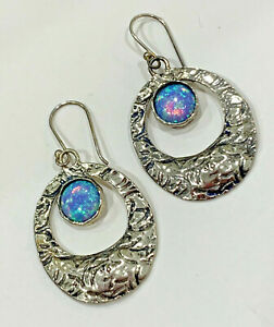 Vintage Earrings Sterling Silver 925 with Blue Fire Opal Signed Shube