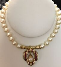 Ruby 8mm Pearl Strand Pendant Necklace Vintage Art Deco 14k Yellow Gold Diamond
