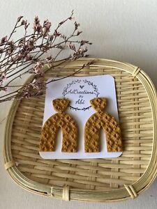 handmade polymer clay earrings Mustard
