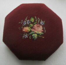 """VINTAGE OCTAGONAL FLORAL NEEDLEPOINT RED STOOL TOP (only) 15"""" x 15"""""""