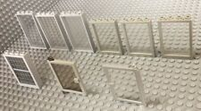 """Lego Lot / 7 Windows / 2 Doors / Grey Frames / Store Front / Clear """"glass"""" /Jail"""