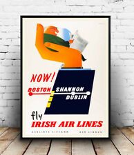 Fly Irish Airlines : Vintage Travel advertising, Wall art ,poster, Reproduction.