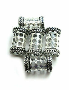 30 PCS 19X12MM BALI TUBE BEAD ANTIQUE STERLING SILVER PLATED 320AUD-35