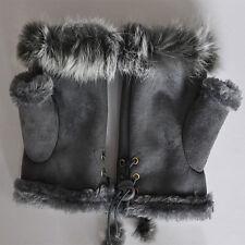 Brand New Good Gift For Lovers Rabbit Fur leather Wrist Fingerless Gloves