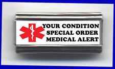 CUSTOM SPECIAL medical ORDER on superlink 9mm Italian photo Charm for bracelets