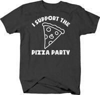 I support the pizza party caps funny love sauce toppings bread T Shirt for Men