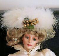 "Franklin Mint by Gibson Girl Heirloom Doll Kristina 21"" porcelain Christmas"