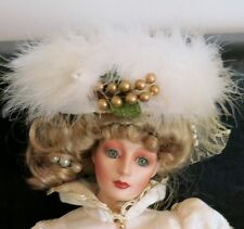 "Franklin Mint by Gibson Girl Heirloom Doll Kristina 21"" porcelain Christmas"