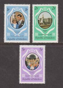 1981 Royal Wedding Charles & Diana MNH Stamp Set Maldives Perf SG 918-920 Purple