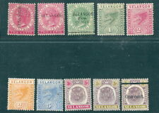 MALAYA SELANGOR small collection of lightly mounted mint 1889 to 1900