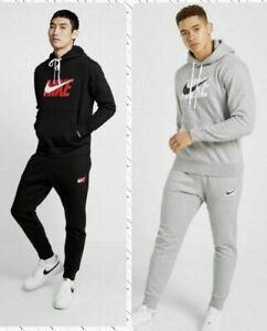 New Nike Mens Full Tracksuit Club Fleece Logo Hoody Pants -S M L XL Navy,Grey