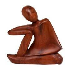 309ac0ce5fc1 Original Wood Sculpture Statuette Abstract Hand Carved 'Unwind' NOVICA Bali