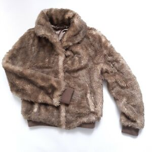 H&M Brown Faux Fur Bomber Jacket Size 8 Machine Washable Long Sleeve Collared