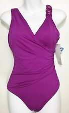 Badgley Mischka Womens 4 Purple One-Piece Bathing Suit Swimsuit NEW Maillot