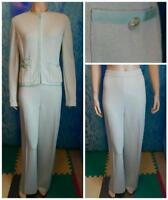 St. John Knits Green Jacket & Pants L 10 12 2pc Suit Buttons Ribbon Detail