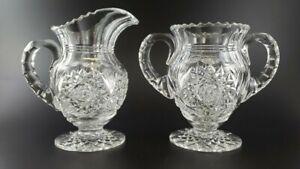 Vintage Crystal Creamer & Sugar Set American Brilliant Period Cut Glass Star