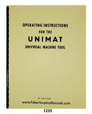 Unimat DB200 & SL1000 Universal Machine Tool Operating Instructions Manual #1235