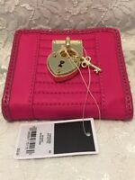 "NWT Juicy Couture Heart and Key Gold Hardware Snap Closure Pink Wallet 4""X3.5"""