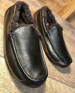 Men's UGG 1005229 'Ascot' Brown Pebbled Leather Shearling Lined Slippers Size 9