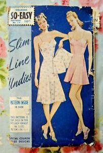 """Vintage 1940s Sewing Pattern. Ladies Underwear Slip/Knickers. 34"""" Bust. 38"""" Hips"""
