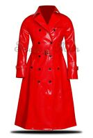 PVC PU Blood Red Vinyl Women's Trench Coat All sizes 5 colors