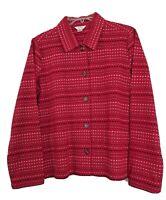 Christopher & Banks Blazer Jacket Shirt Blouse Red Black White Print Top Size S