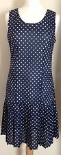 Vintage 1980 S robe bleu et blanc pois taille 12 in (environ 30.48 cm) très bon état