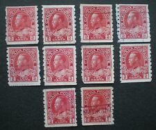 1912-1924 Admiral Coil Stamps Sc#127 USED 10 x 2¢ - 99¢ Postage Canada