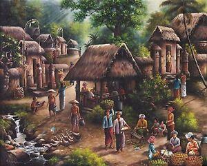 Hand painting Balinese Village 296