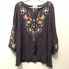 umgee USA embroider dark purple loose fit lightweight blouse top Womens Size 2XL