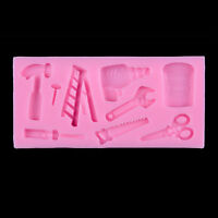 Tools Silicone Cake Fondant Mold Topper Hammer Spanner Baking Mould Decor Pip PL