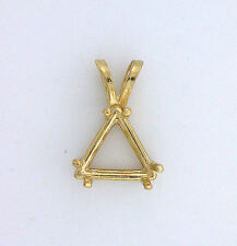 14Kt Gold 12mm Trilliant Trillion Triangle Casted Prenotched Pendant Mounting