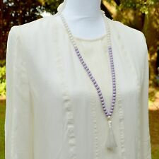 Long Lavender Purple & White Beaded Necklace w/ White Silk Tassel Knots Gift