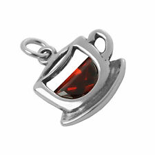 925 Sterling Silver & Crystal Cup of Tea Charm