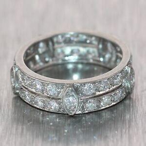 1930's Antique Art Deco Platinum 2ctw Diamond Band Ring