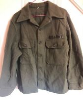 US Military Issue Army Olive Green Cold Weather Field Shirt Wool Jacket Vintage
