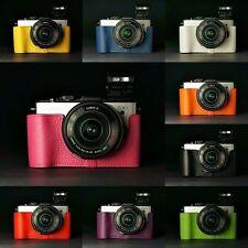 Handmade Real Leather Half Camera Case Camera bag for Panasonic GX1 10 colors