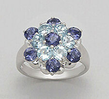 Solid Sterling Silver Purple Iolite & Blue Topaz Flower Cocktail Ring sz8 BEAUTY