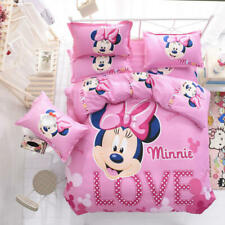 Disney Pink Minnie Mouse Cartoon Comforter Cover Sheet Pillow Cases Bedding Sets