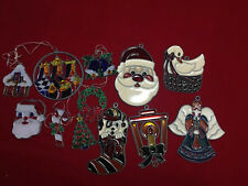 12 Vintage Stained Glass Plastic Christmas  Ornament Lot Suncatcher