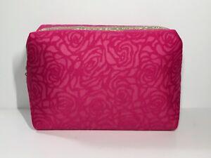 Lancôme Cosmetic Makeup Bag/Clutch Padded with metallic trim (pink rose pattern)