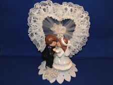 New Kissing Bride & Groom Cake topper with lacy jeweled heart
