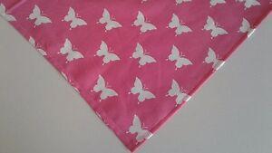 Dog Bandana Pink White Tie On Butterflies Custom Made by Linda Xs S M L
