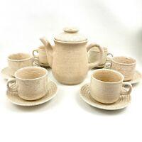Churchill Homespun Stonecast Coffee Tea Set-Tea Pot & Lid w/ 6 Cups Saucers