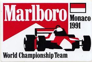 ORIGINAL MARLBORO McLAREN MONACO GP 1991 AYRTON SENNA PERIOD STICKER AUTOCOLLANT