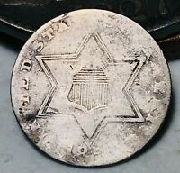 1854-1858 Three Cent Silver Piece Trime 3c KEY Type 2 Worn Date US Coin CC4708
