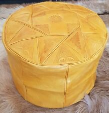 GENUINE  LEATHER MOROCCAN  POUFFE POUF HANDMADE OTTOMAN FOOTSTOOL