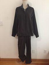 CHICO'S ZENERGY Track Suit Mocha Brown Nylon/Spandex Jacket Sz 2 / Pants Sz 1