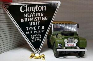 Land Rover Series 1 MG Bentley Vintage Clayton Heater Metal Label Decal Badge